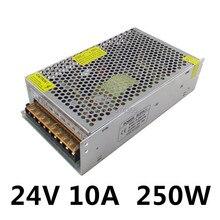 LED de Alimentación de 24 V 10A 250 W fuente de Alimentación de Conmutación Conductor LLEVADO Tira 3528 5050 De Aluminio de Iluminación Para Los Transformadores