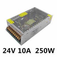 Fuente de alimentación LED para transformadores, fuente de alimentación con controlador LED de 12V 24V 250W, tira de conmutación 3528 5050, iluminación para transformadores de aluminio 10A 20A