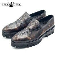 Cow Leather Formal Shoes Men Luxury Designer Brand Crocodile Leather Mens Shoes Social Slip On Platform Rhinestone Male Footwear
