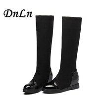 2015 Classic Flat Boots Women Winter Boots Black Knee High Boots Hidden Heel Stretch Fabric Boots