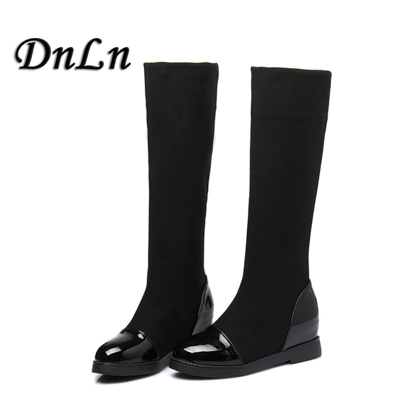 Classic Flat Boots Women Winter Boots Black Knee High