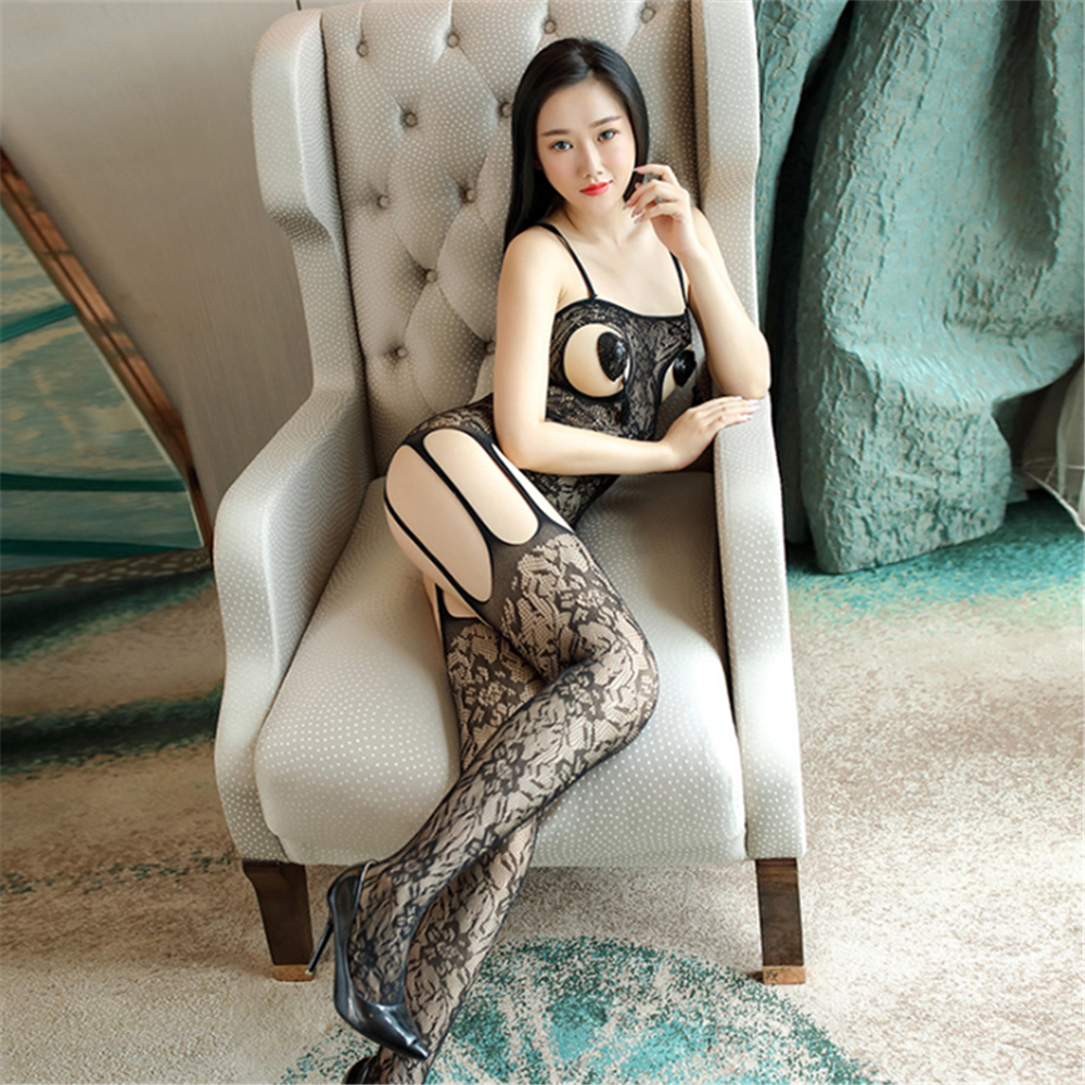 Transparent Camisole Jacquard Weave Hollow Out Body-Stocking Socks Body Sexy Costumes Catsuit Bodystocking Open Crotch Lingerie