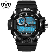 Top Brand Cool Black Mens Fashion Large Face LED Digital Swimming Climbing Outdoor Man Sports Watches Christmas Boys Gift