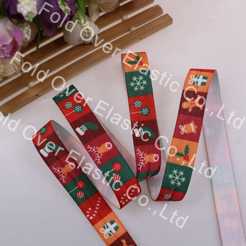 Christmas, 5/8 inch headband, free shipping, heat transfer with stockings,Hair Ties FOE Girl DIY Accessories 100yards/lot