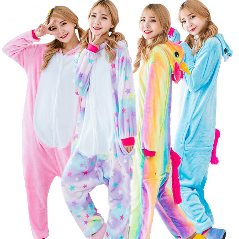 Adult Unicorn Pajamas for Women Cosplay Rainbow Unicorn Onesie Animal Pyjamas Girls Flan ...