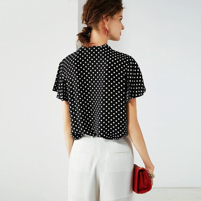 Das 2019 Mulheres Novas Roupas Ol de Colarinho Em Pé de Vento Cor Sólida Camisa De Seda Das Mulheres de Manga Longa Top Cardigan Blusa camisas das mulheres - 4