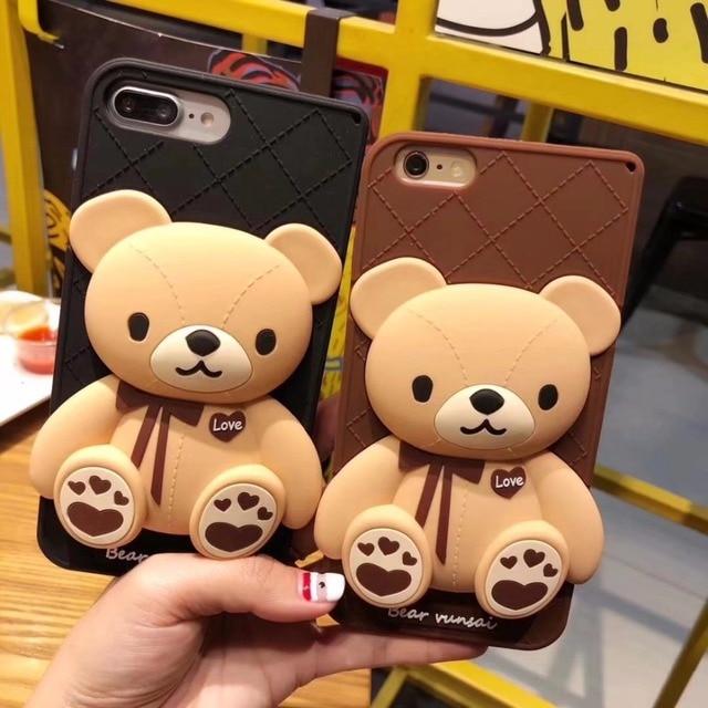 Cute Korean Cartoon Capa Case 3D Teddy Bear Coque Soft Silicon Phone Case For iPhone X XS 6 6S 7 8 plus Cover Fundas