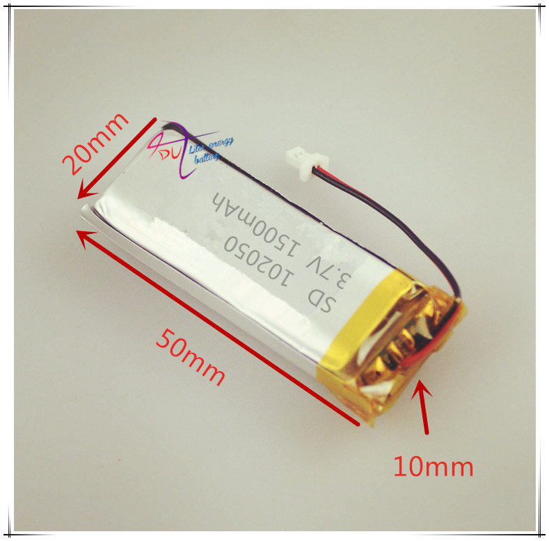 XHR-2P 2.54 3.7V 1500mAh 102050 Polymer Lithium Battery Learning Machine Knight Traffic Recorder