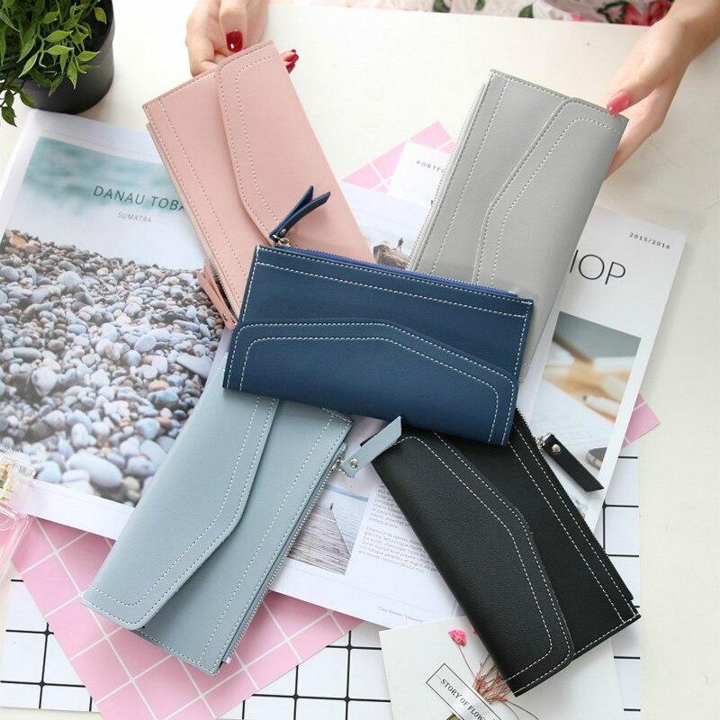 2017 new ladies wallet female Korean style pu leather wallets retro simple 2 fold zipper purse card coin money clutch wallet 1pc