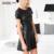 Venta caliente de Las Mujeres de Cuero de Moda Vestido de Una Línea O-cuello Vestido Negro Vestidos Otoño PU Vestido de Manga Corta Mini Vestido ocasional Atractivo 2153