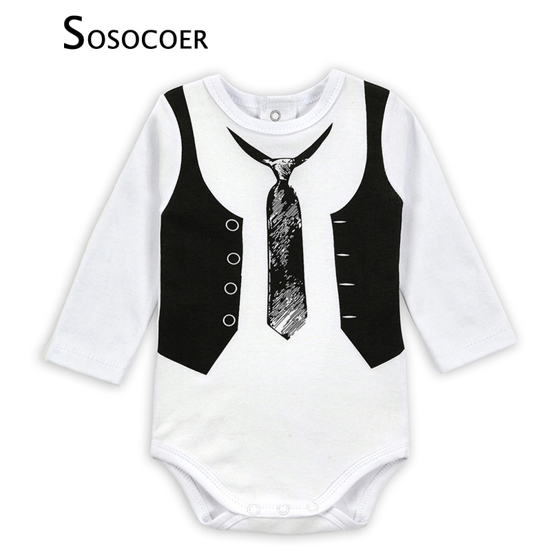 SOSOCOER Toddler Boy Romper Fashion Tie Vest Pattern Baby Jumpsuit Rompers Boys Clothes High Quality Long Sleeve Newborn Romper