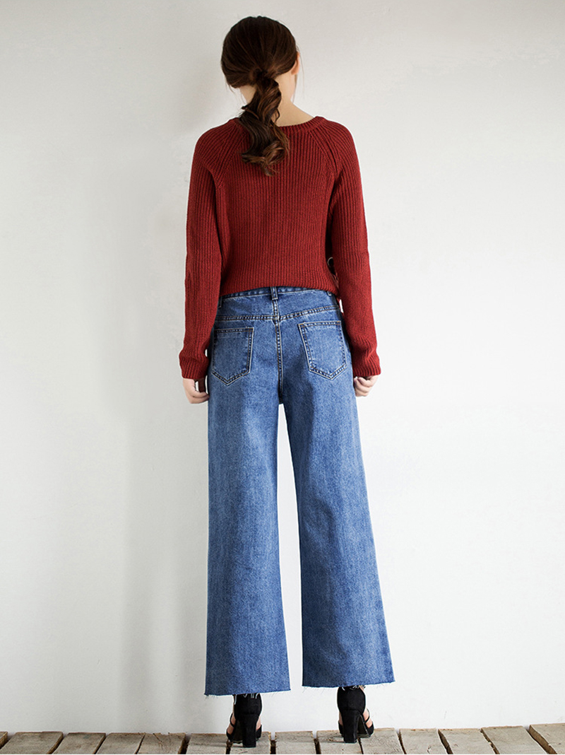 Idopy Fashion Women Vintage Washed Denim Wide Leg Pants Female Side Stripe Legging High Waist Jeans Bell Bottom Jeans For Women 2