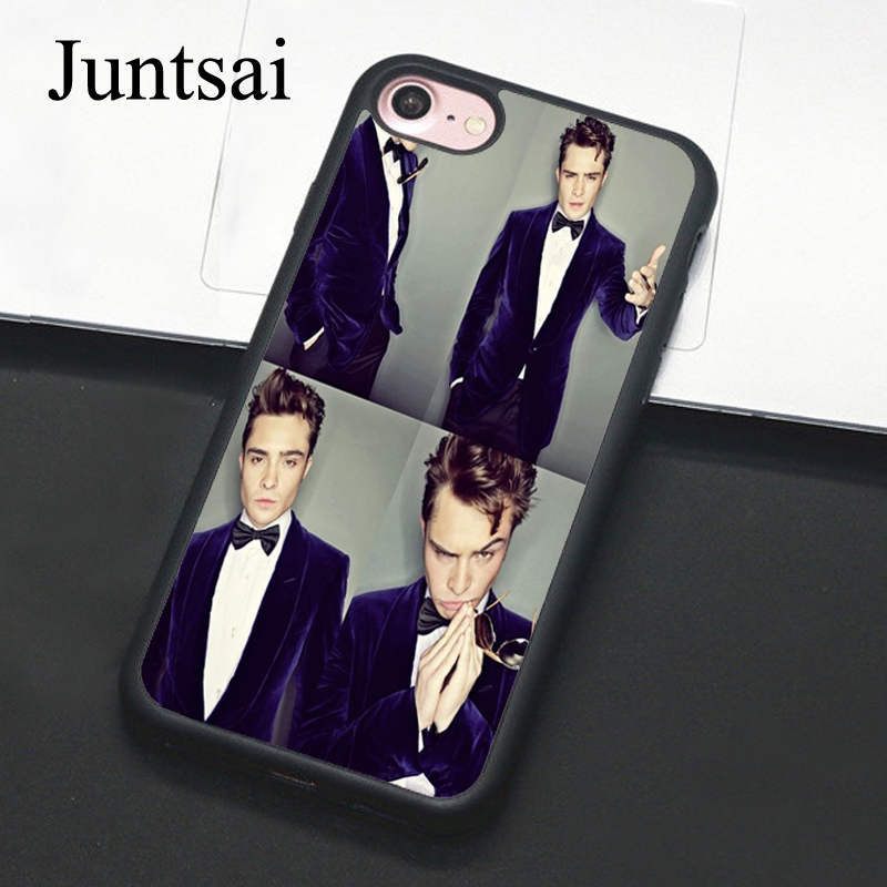 Juntsai Gossip girl chuck bass Printed For iPhone 7 case Black Color TPU+PC Protective Case for Apple iphone 7 Back Cover