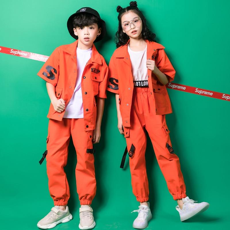 Kids Hip Hop Clothing Girls Boys Overalls Sweatshirt Jogger Pants Jazz Dance Costumes Show Ballroom Dancing Clothes Frock Outfit