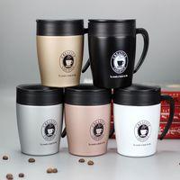 Новинка 330 мл кофейная кружка Вакуумная чашка термос из нержавеющей стали Изолированные чашки воды стакан с ручкой крышкой и ложка-мешалка ...