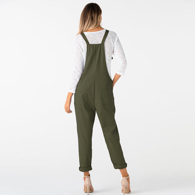 New Trendy Women Loose Jumpsuit Dungarees Solid Colors 5  Long Pockets Rompers Jumpsuits Pants Trousers Pantalon femme @30 3