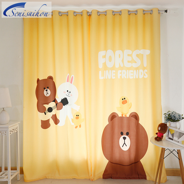 US $69.11 25% OFF Senisaihon Korean 3D Blackout Curtains Cartoon Yellow Fat  Bear Pattern Thickened Fabric Children Bedroom Curtain for Living Room-in  ...