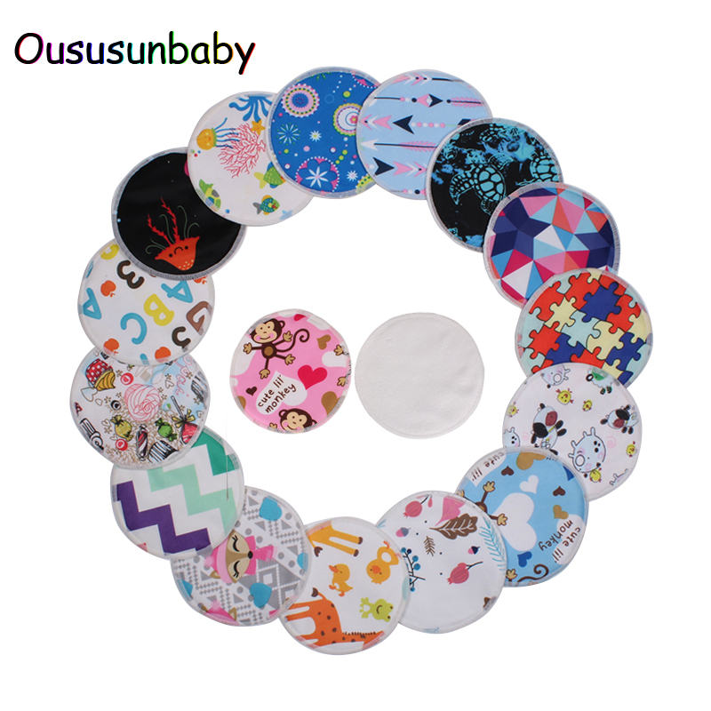 Oususunbaby 12pcs/lot Reusable Bamboo Breast Pads Organic Bamboo Breast Pad Nursing Pads Waterproof Washable Feeding Pad For Mum