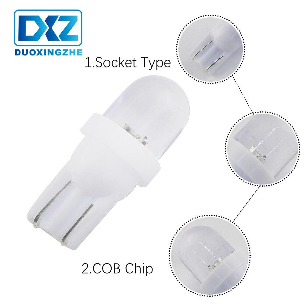 DXZ 1X intérieur de voiture lumières LED T10 194 168 501 W5W COB silice CANBUS DC12V 1SMD blanc Wedge côté lampe queue parking ampoule