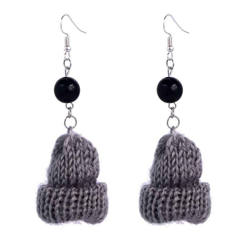 Funny Winter Mini Gray Small Wool Hat Fashion black Pearl Short Cute Knitted Cap Earrings
