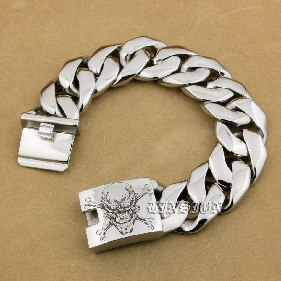 Bracelet à maillons en acier inoxydable pour garçons, grave crâne de Pirate, avec gravure profonde, 316L, Biker, Rock, 5C105