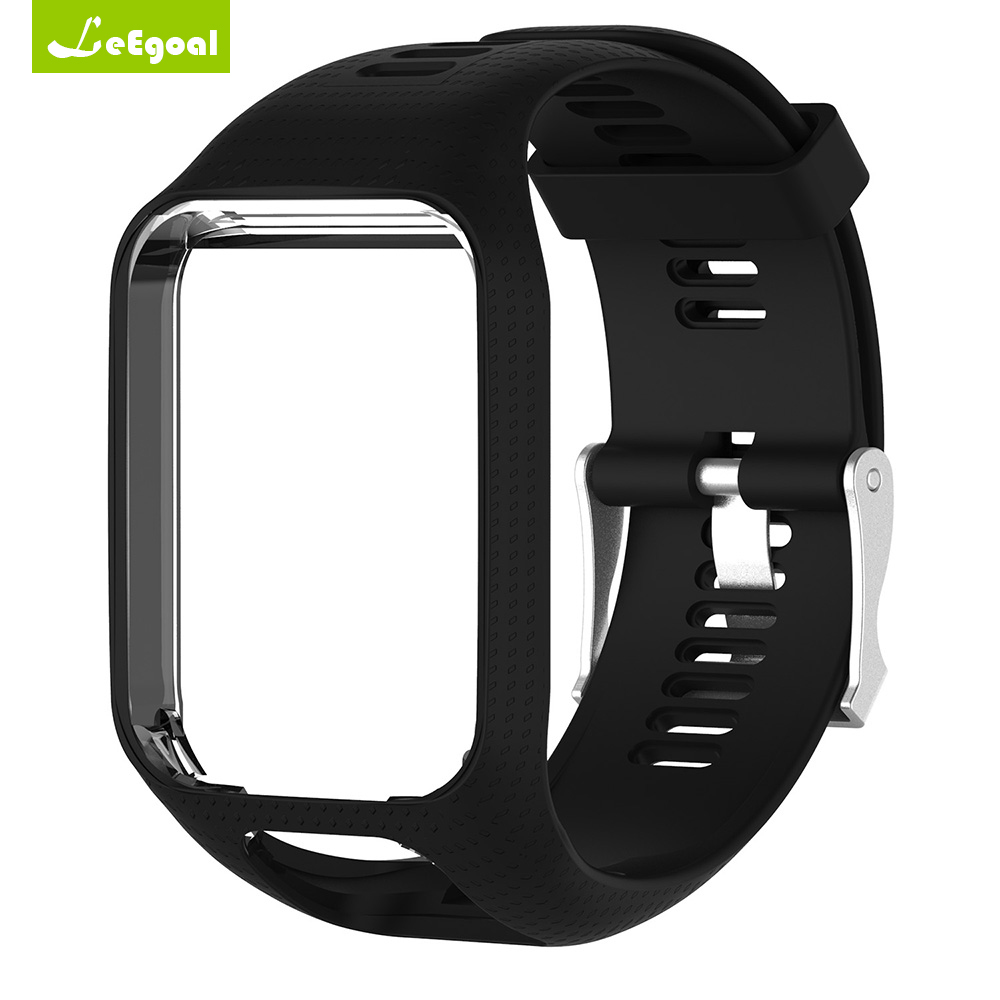 Leegoal Silicone Watchband Colorful with Frame Holder Watch Strap Replacement for TomTom Runner 2 3 Spark 3 Adventurer GPS Watch