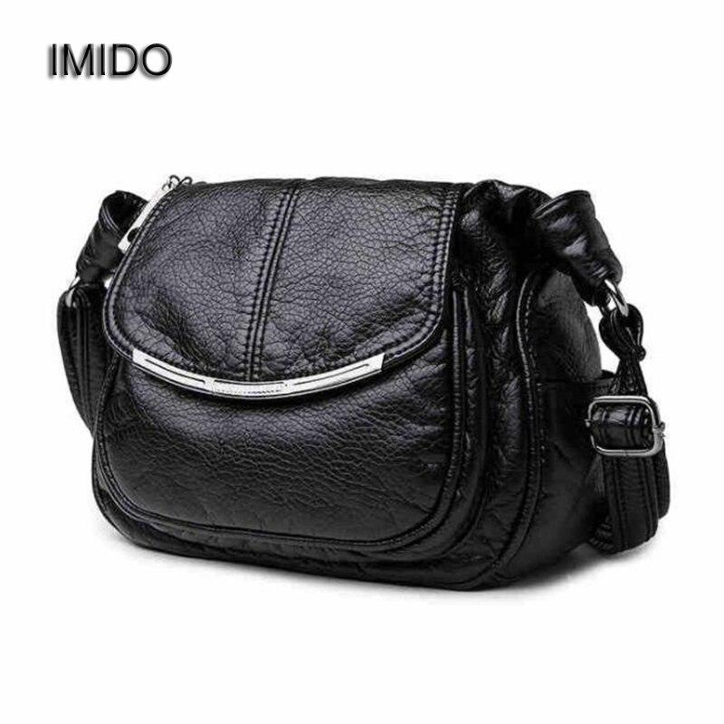 IMIDO 2018 Luxury Design Women Genuine Leather Bag Soft Sheepskin Messenger Bags female Shoulder Bag Crossbody Black Blue MG022 цена