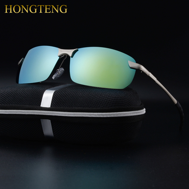 HONGTENG Aluminum Magnesium Men's Polarized Sun glasses Night Vision Mirror Male Eyewear Sunglasses Goggle Oculos For Men