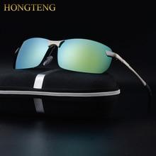 HONGTENG Aluminum Magnesium Men's Polarized Sun glasses Night Vision Mirror Male Eyewear Sunglasses Goggle Oculos For Men