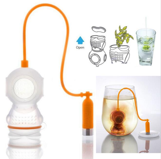 Tea leaf Infuser Diver Loose Strainer Bag Mug Filter  Scuba teapot strainer Diving Filter Diffusers 9 colors
