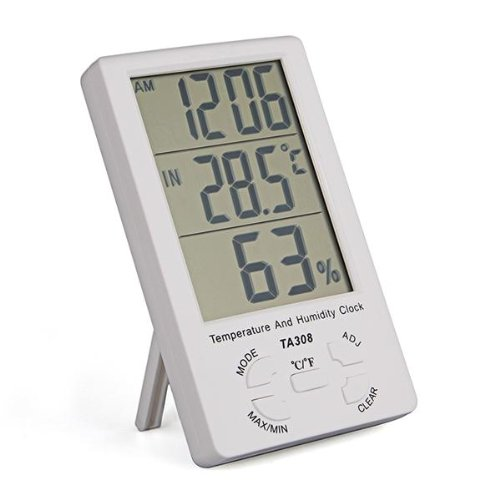 JFBL LED Screen Digital Thermometer Hygrometer for Indoor Outdoor Garden Patio White