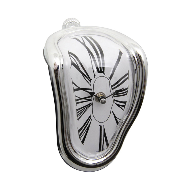 Novelty Desk Table Melting Clocks Right Angle Wall Bedside Alarm Modern Distorted Clock