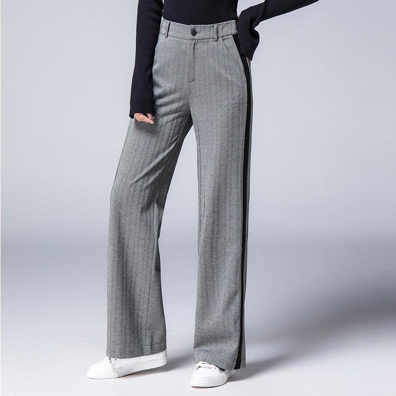 eb211b601435c Detail Feedback Questions about High Waist Elegant Trousers Women Plus Size  2018 Autumn Winter Side Striped Long Wide Leg Pants Women Pants pantalon  femme ...