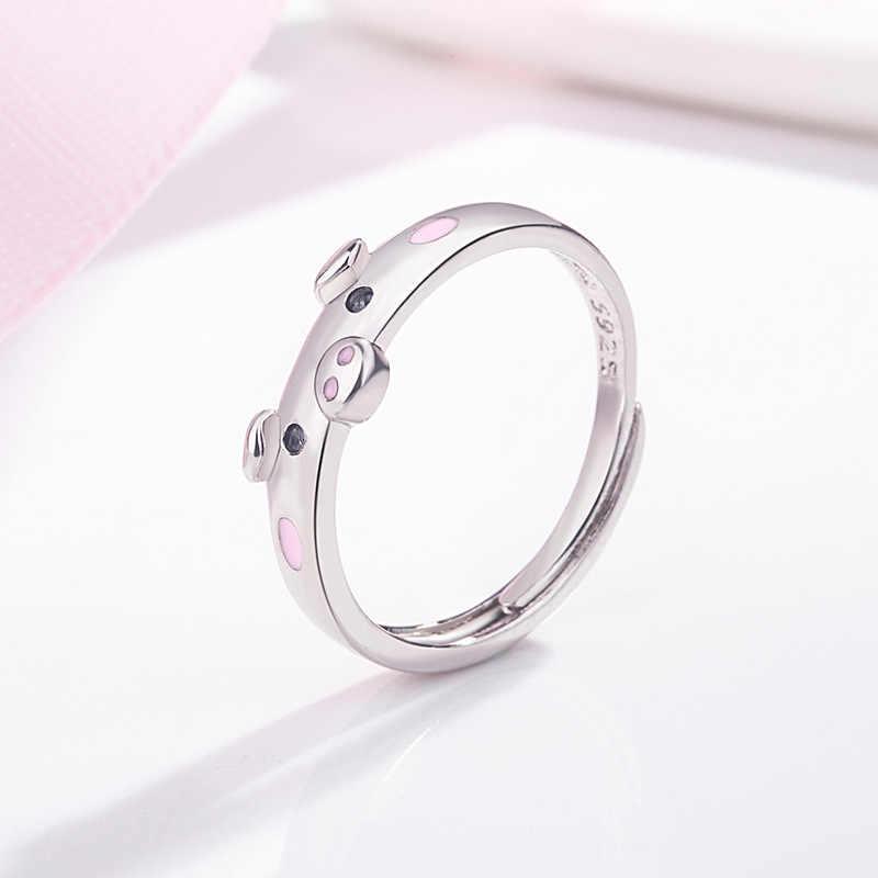 XZP S925 lindos anillos de cerdo esmaltado Rosa Popular cerdito Animal pareja anillo de apertura mujer hombre joyería amante regalo ajustable