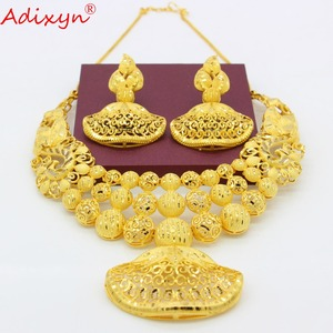Image 4 - Adixyn Ethnic India Necklace Earrings Set Jewelry Women Girls Gold Color Arab/Ethiopian/African Wedding Accessories N03143