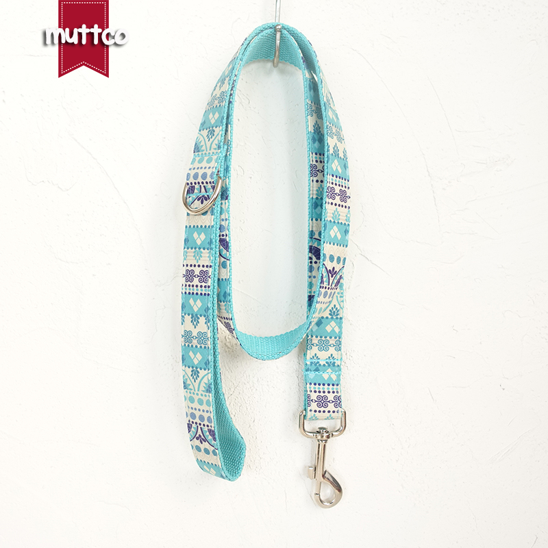 MUTTCO retailing self-design high quality handmade leash fashion Sapphire THE FOLK BLUE dog collars and leashes 5 sizes UDL023