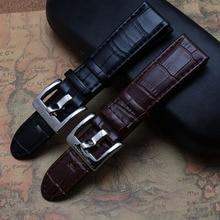 Ancho de banda de 20mm 21mm 22mm reloj de cuero genuino con hebilla de acero inoxidable de plata Marrón negro accesorios pulsera venda de reloj