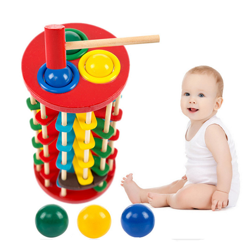 1Set Wooden Fun Playing Hamster Game Colorful Ball Wooden Hammer Box model building toys Baby Kid Child Knock Ball Wooden