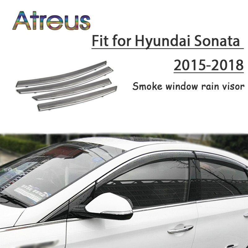 все цены на Atreus 1set ABS For 2018 2017 2016 2015-2011 Hyundai Sonata Accessories Car Vent Sun Deflectors Guard Smoke Window Rain Visor онлайн