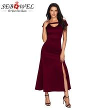 SEBOWEL Sexy Burgundy Front Split Off Shoulder Dress Women V Neck Black Maxi Dress Female Elegant Long Dress Evening Gowns Robe недорого