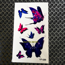 Flash Blue Purple 3D Tattoos Waterproof Body Makeup GYF-086 Beatuiful Butterfly Sexy Women Arm Should Temporary Tattoo Stickers