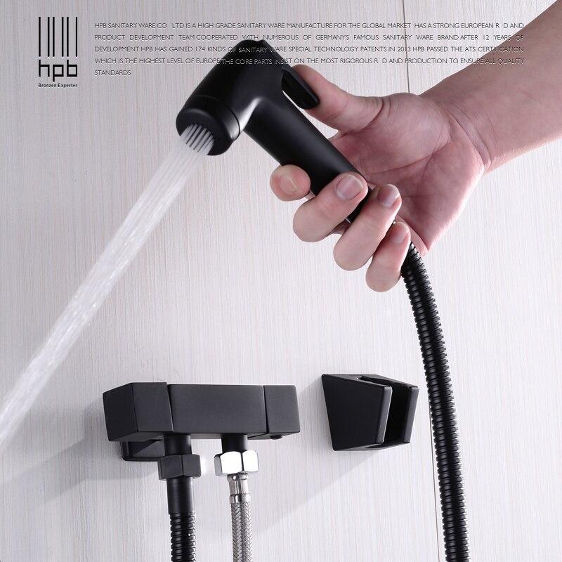 HPB high quality solid brass matte black color handheld bidet sprayer faucet set toilet handshower wall mounted anal plug DR7C22 недорго, оригинальная цена