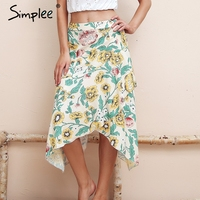 Simplee Irregular Ruffle Bohemian Print Skirt High Waist Casual Midi Skirt Women 2018 Fashion Floral Summer