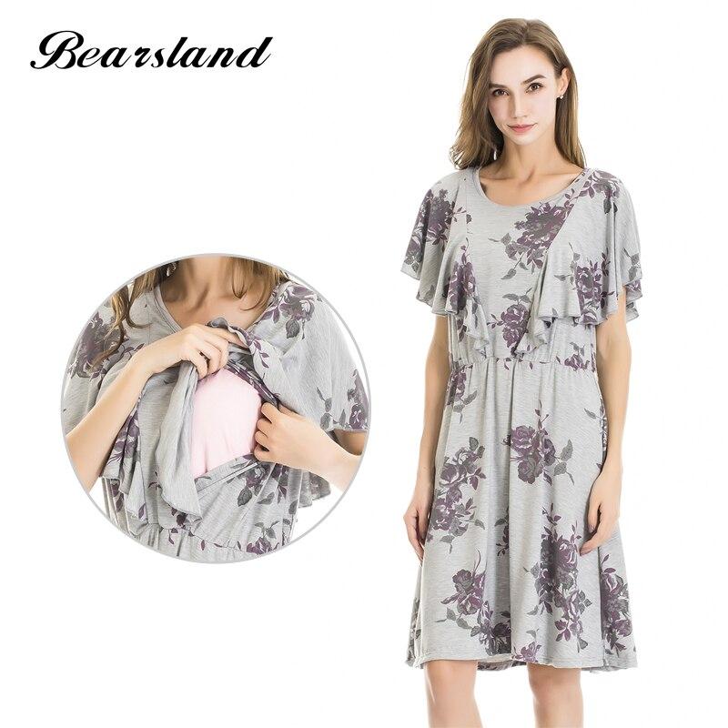 Bearsland Maternity Womens Fashion Floral Cloak Design Maternity Breastfeeding and Nursing Dress