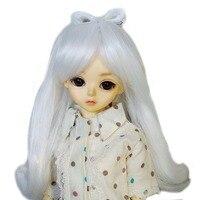 [wamami] 97# White Long Wave Wig For 1/4 MSD AOD DOD DZ BJD Dollfie 7 8 inch