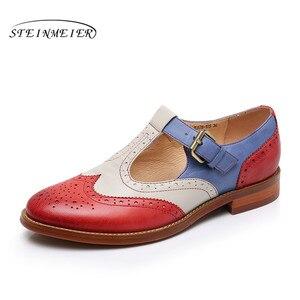 Image 5 - Yinzo zapatos planos de piel auténtica para mujer, zapatillas Oxford, informales, Vintage, para verano, 2020