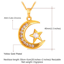 Brand Muslim Crescent Pendant Necklace Silver/Gold Color Cubic Zirconia CZ Islam Moon Star Jewelry Women Gift  P923