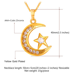 Image 4 - U7 Brand Muslim Crescent Pendant Necklace Silver/Gold Color Cubic Zirconia CZ Islam Moon Star Jewelry Women Gift  P923