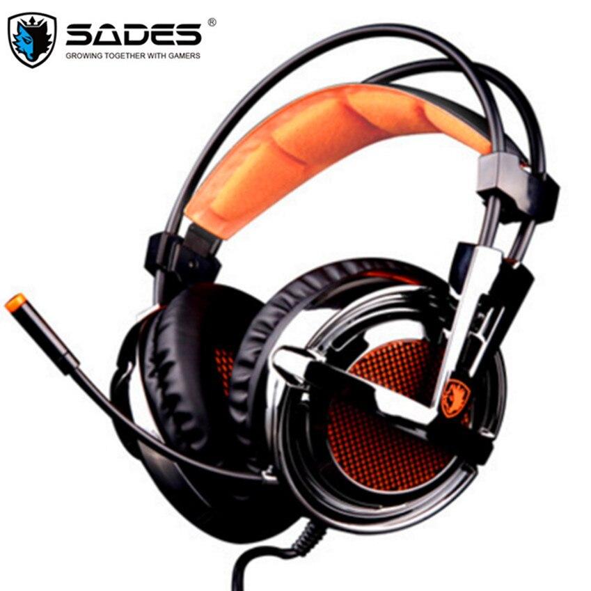 SADES A6 Plus USB 7,1 vibración Bass PC Gamer juego auriculares cristal mágico Gaming auriculares con micrófono para ordenador portátil