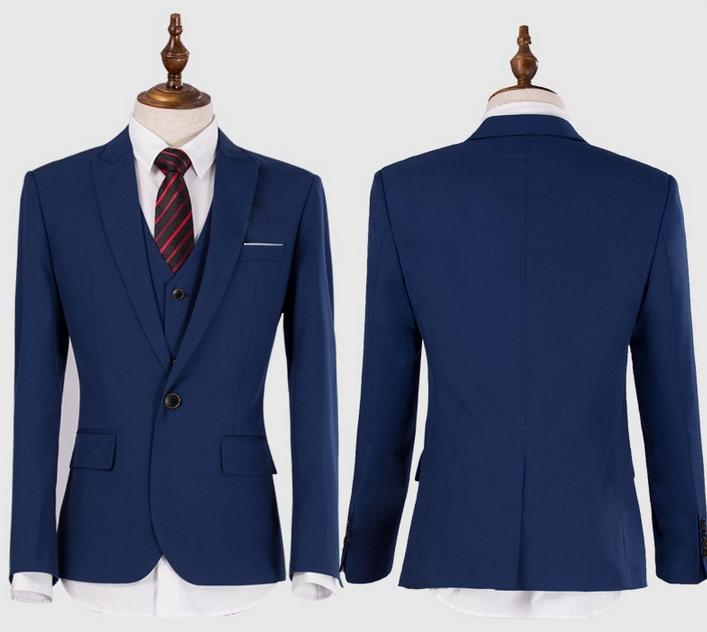 Para hombre vestido de boda delgado traje comercial ropa hombre trajes azul  marino moda tres pedazos fijados traje en Trajes de La ropa de los hombres  en ... 73c3a8b95bc
